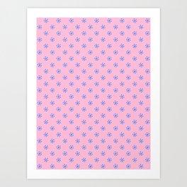 Brandeis Blue on Cotton Candy Pink Snowflakes Art Print