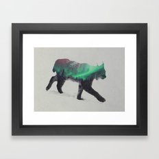 Lynx In The Aurora Borealis Framed Art Print