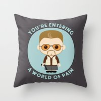 big lebowski Throw Pillows featuring Big Lebowski - Walter Superdeformed by Cloudsfactory