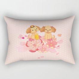 dog couple sweet sakura Rectangular Pillow