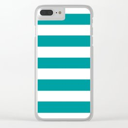 Viridian green - solid color - white stripes pattern Clear iPhone Case