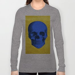 Blue skull on gold Long Sleeve T-shirt