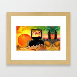 """Talking Head In The Land Of The Two Towers And Setting Sun"" Framed Art Print"