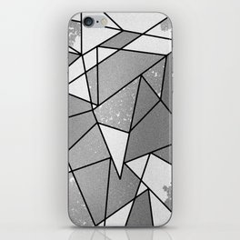 Cool Modern Black Gray Distressed Geometric Pattern iPhone Skin