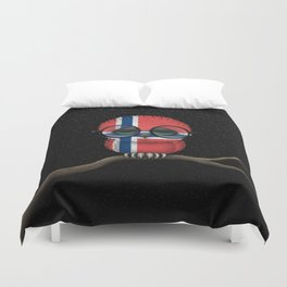 Baby Owl with Glasses and Norwegian Flag Duvet Cover