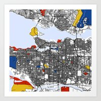 vancouver Art Prints featuring Vancouver by Mondrian Maps
