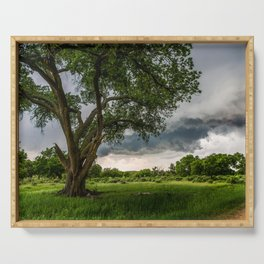 Big Tree - Tall Cottonwood and Passing Storm in Texas Serving Tray