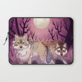 Full Moon - digital drawing of wolves in a forest at night Laptop Sleeve