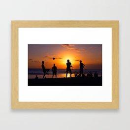 Football at Sunset. Framed Art Print