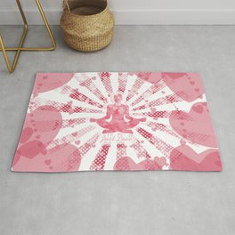 Just love - pink pop art Illustration of a man in yoga on the background of hearts Rug