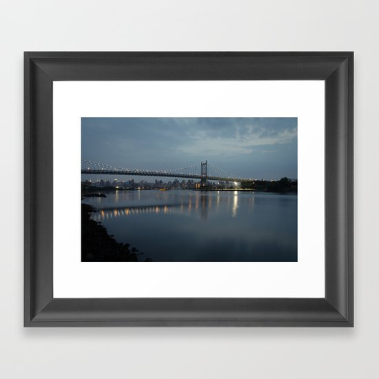 Triborough Bridge at Night. Framed Art Print