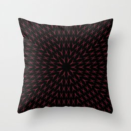 PCT2 Fractal in Red and Black Throw Pillow