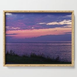 Purple Evening Clouds at Sea Serving Tray