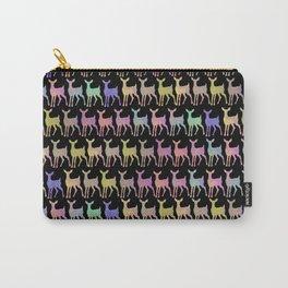 Cute Kawaii Watercolor Print Rainbow Deer Pattern Pop Art Neon Black Carry-All Pouch