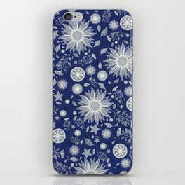Beautiful Flowers in Navy Vintage Floral Design iPhone Skin