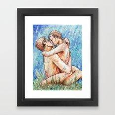 lovers in the rain Framed Art Print
