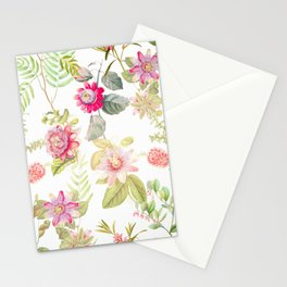 Summer Exotic Botanical Passiflora Flowers Garden Stationery Cards