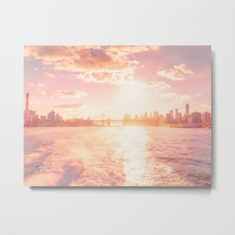 New York City Skyline Sunset Metal Print
