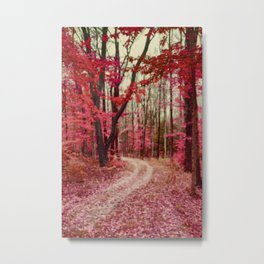 Red, Rust and Orange Ethereal Forest Path Metal Print
