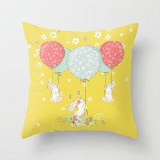 flying bunny Throw Pillow
