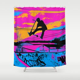 Lets Fly!  - Stunt Scooter Shower Curtain
