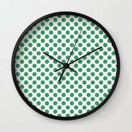 Kelly Green Small Polka Dots Wall Clock