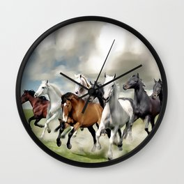8 Horses Running Wall Clock
