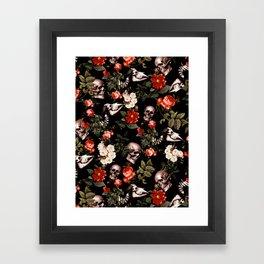 Floral and Skull Dark Pattern Framed Art Print