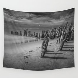 Footprints and Pilings on the Beach in Black and White at Kirk Park by Grand Haven Michigan Wall Tapestry
