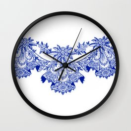 Vintage Lace Sapphire Blue Hankies Wall Clock