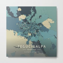 Tegucigalpa, Honduras - Cream Blue Metal Print