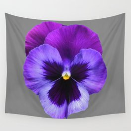 GREY MODERN ART SINGLE PURPLE PANSY Wall Tapestry