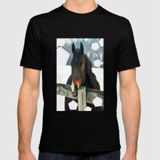 Thoughtful Horse Black Mens Fitted Tee MEDIUM