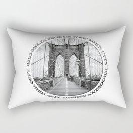 Brooklyn Bridge New York City (black & white with text) Rectangular Pillow