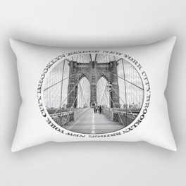 Brooklyn Bridge New York City (black & white with text) Rectangular Pillow