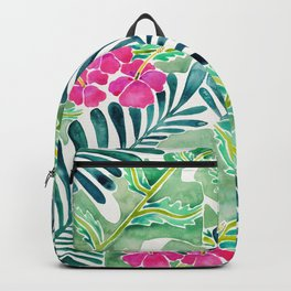 Lush Tropical Fronds & Hibiscus Backpack