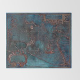 Antique Map Teal Blue and Copper Throw Blanket