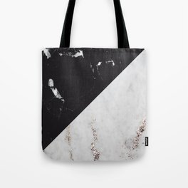 Black Marble Meets White Glitter Marble #1 #decor #art #society6 Tote Bag