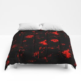 Red Paint / Blood splatter on black Comforters