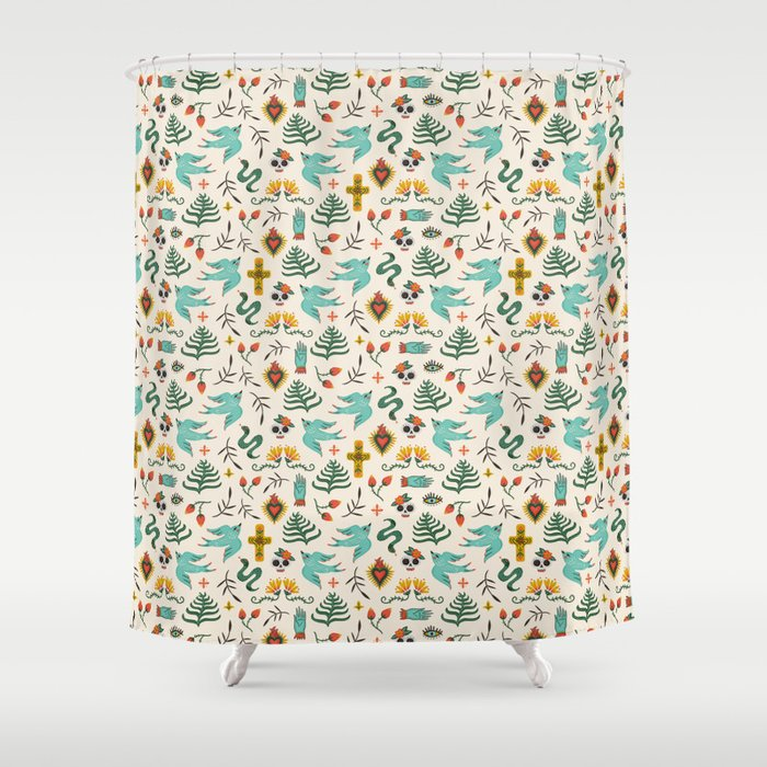 Mexican Folk Art Shower Curtain By Monkeymindesign