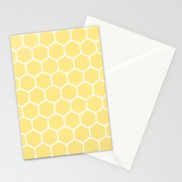 White and yellow honeycomb pattern Stationery Cards
