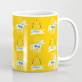 Folk cat on yellow Coffee Mug