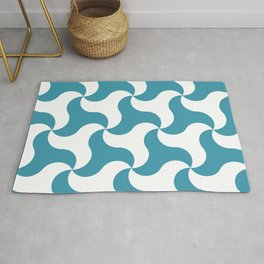 Teal shark tooth pattern for the beach Rug