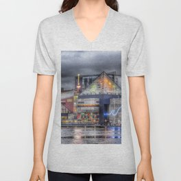 Baltimore Inner Harbor National Aquarium Skyline At Night Unisex V-Neck