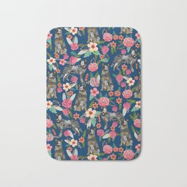 Australian cattle dog floral dog breed navy pet pattern custom gifts for dog lovers Bath Mat