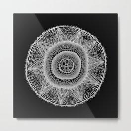 Cell Mandala (White on Black) Metal Print