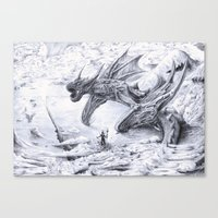 attack on titan Canvas Prints featuring Attack on Titan Dragon by SkillSkillFiretruck