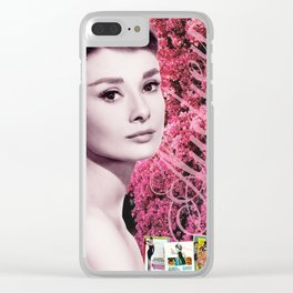 Audrey Hepburn Pink Collage Clear iPhone Case