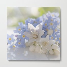 Queen and court- Spring flowers in blue and white - Stilllife Metal Print