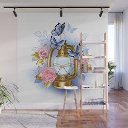 Kerosene Lamp with Pink Roses Wall Mural